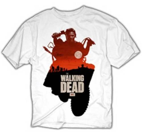 The Walking Dead Daryl On Bike In Sunset Adult T Shirt & 3 FREE STICKERS  Mens 2018 fashion Brand T Shirt O-Neck 100%cotton T-Shirt