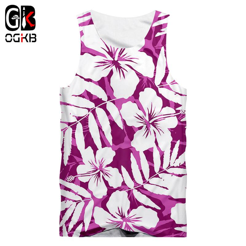 OGKB Dropshipping/Wholesale Tanks New Women/men's Funny Print Purple Flowers 3D Tank Top Hiphop Vest Man Sexy Sleeveless Shirts