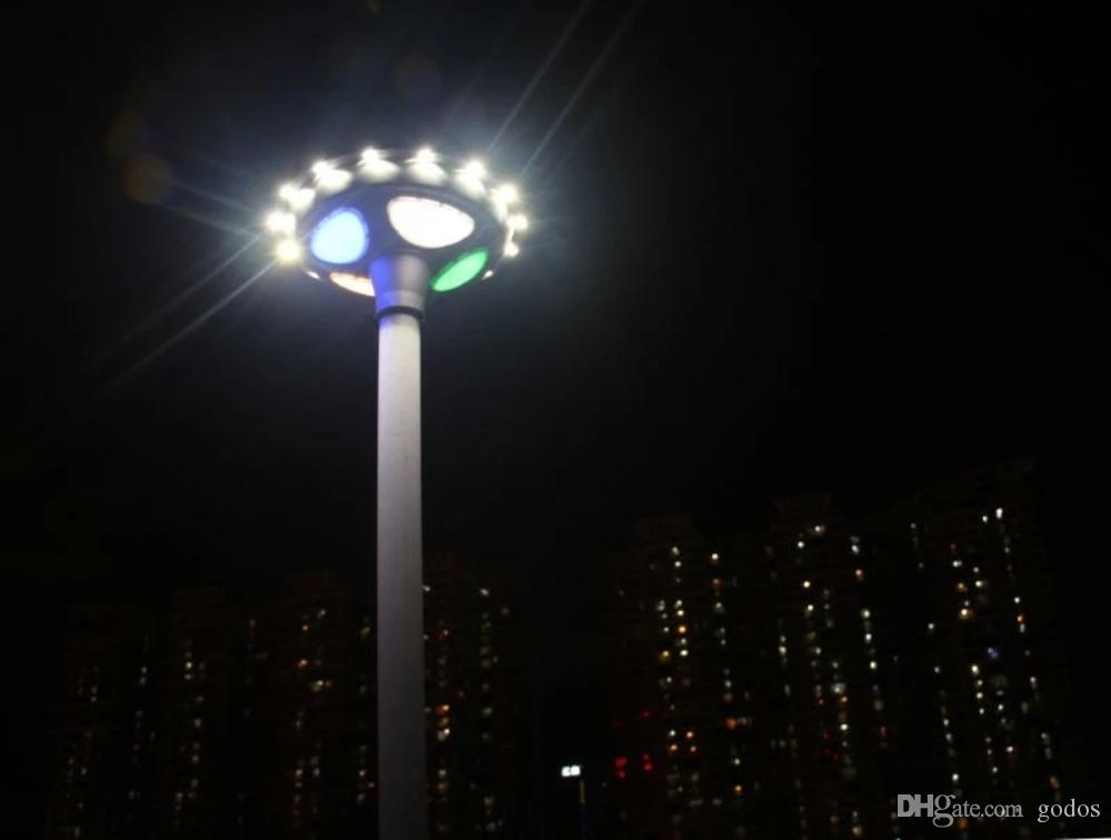 2018 outdoor christmas decoration shopping plaza solar street light commercial colorful led light with solar panel ufo round post rgb led light from godos