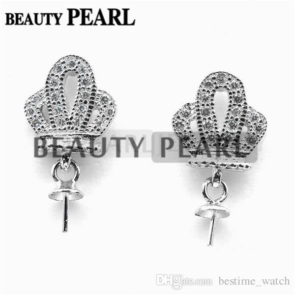 Bulk of Blank Earrings without Pearls Crown 925 Sterling Silver Mountings DIY Jewellery Making
