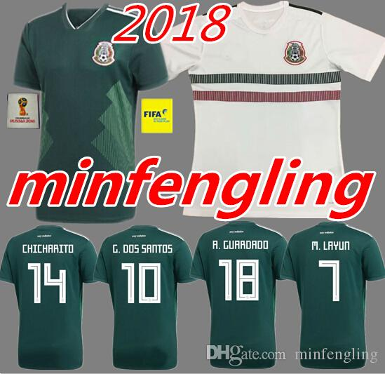 official photos 09870 da3a4 2018 mexico away white soccer jerseys LOZANO football shirt 2018 world cup  CARLOS GUARDADO G.DOS SANTOS mexico Camisetas CHICHARITO maillot