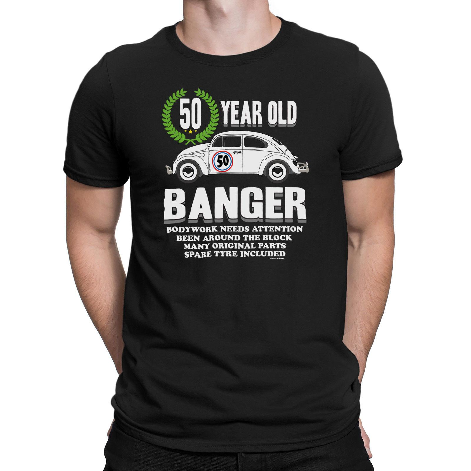 Mens 50th BIRTHDAY TShirt OLD BANGER 50 Years Old Joke Gift Fifty Print Short Sleeve Men Top Novelty T Shirts MenS Brand Clothing Tna Humorous Tee