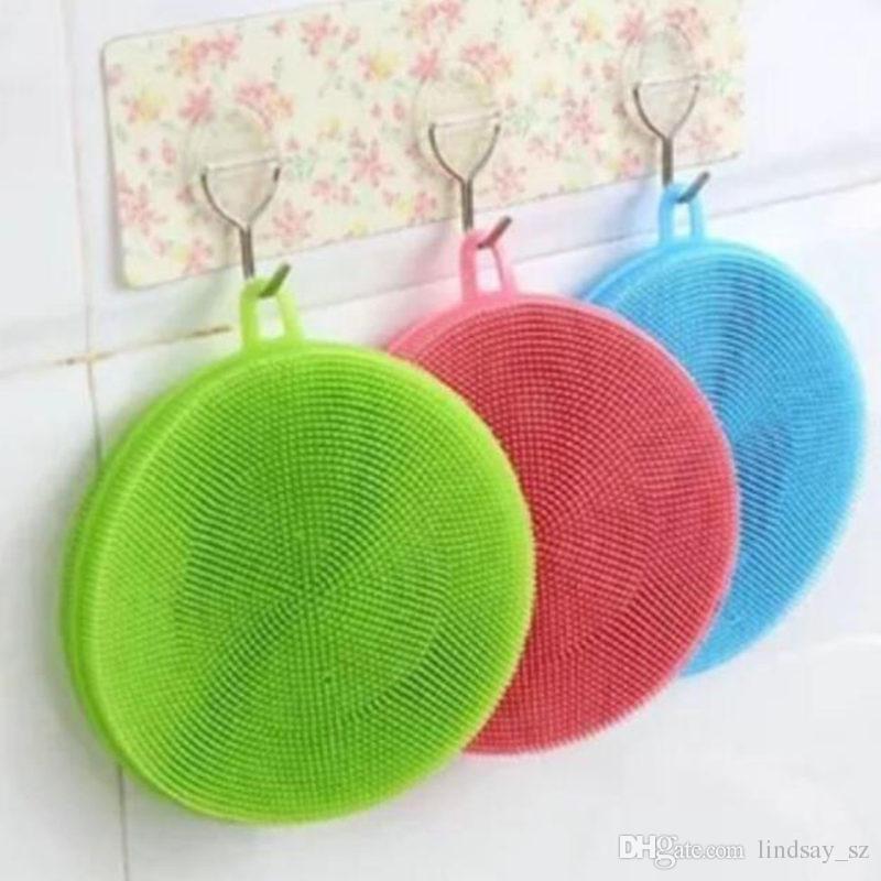 7 cores multi-função silicone pote de lavar louça escova de limpeza antibacteriano esfregão de cozinha esfregão de frutas vegetal limpar rápido