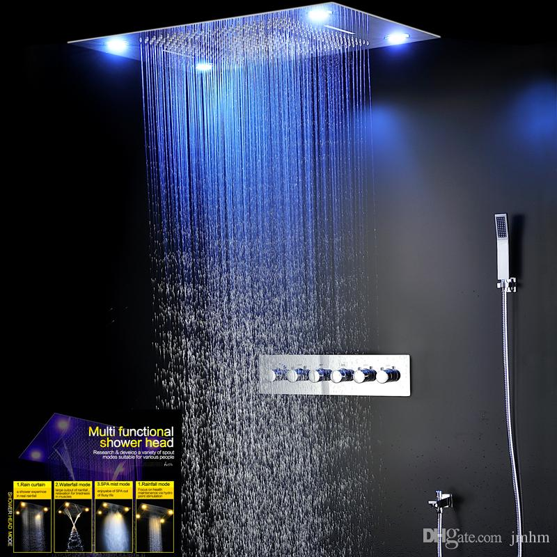 Shower Heads Home Improvement Dependable Sble Water Power Colorful Led Shower Head Handheld Temperature Sensor Light Shower Head No Battery Bathroom Accessories 3 Colors