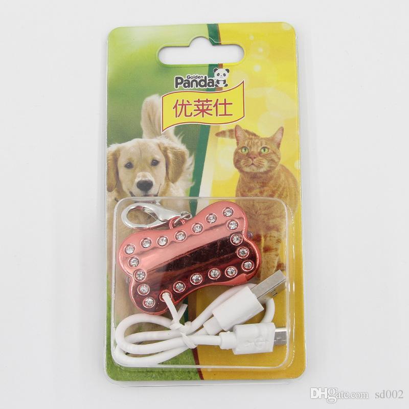 LED Pet Tag Coloré Forme D'os Chien Clignotant Sécurité Nuit Lumières De Marche Porte-clés USB En Charge Cat Puppy Collar Lumière Pendant 5xc C R