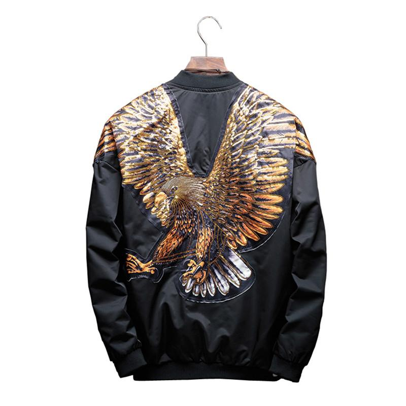 Bomber Jacket Eagle pattern Fashion Sequin Men s Stand Collar Fashion new  Outwear Autumn Men Coat Bomb Baseball Jackets hip hop