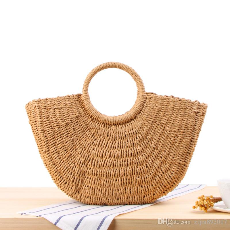 New Fashion Straw Bag Large Capacity Women s Handbag Handmade Woven ... 8019bbd235637