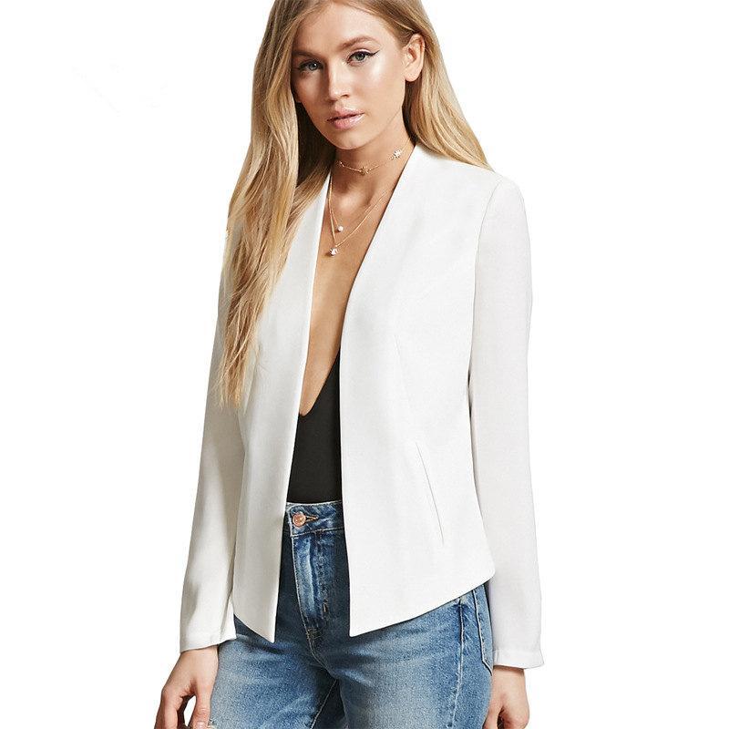 divers styles meilleure sélection Style classique Femmes Veste à Manches Longues Feminina Costume Blazer Femme Casual Blazer  Mujer Grande Taille Blanc Solide Couleur Non Bouton Vestes MZ1633