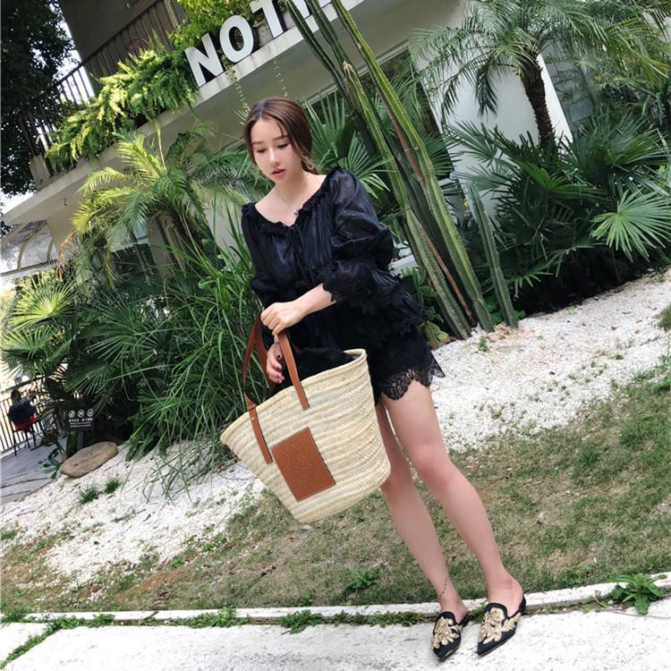 Wholesale 2019 New Fashion Straw Bag Super Fire Popular Vegetable Frame Portable Grass Weaving Environmental Protection Round Package