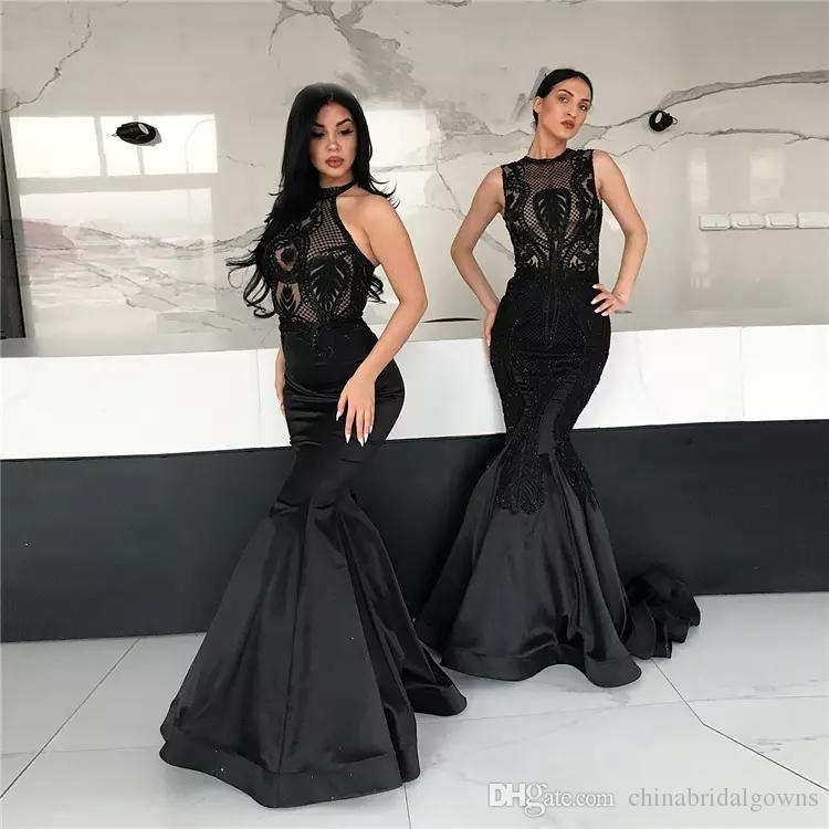 2018 Dubai Arabic Modest Black Mermaid Women Evening Dresses Lace Pattern Sleeveless Taffeta Ladies Prom Party Gowns Customized