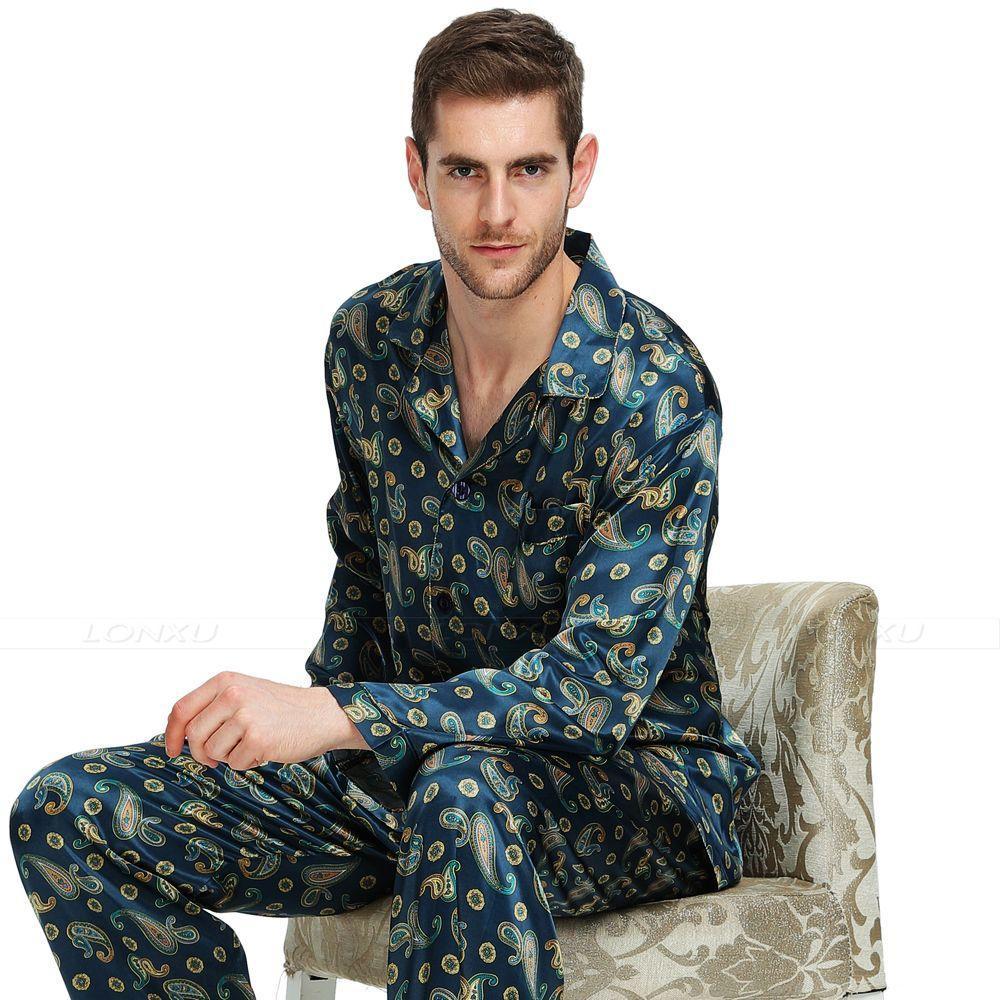 e1ec6f1936 2019 Mens Silk Satin Pajamas Set Pajama Pyjamas PJS Sleepwear Set  Loungewear S