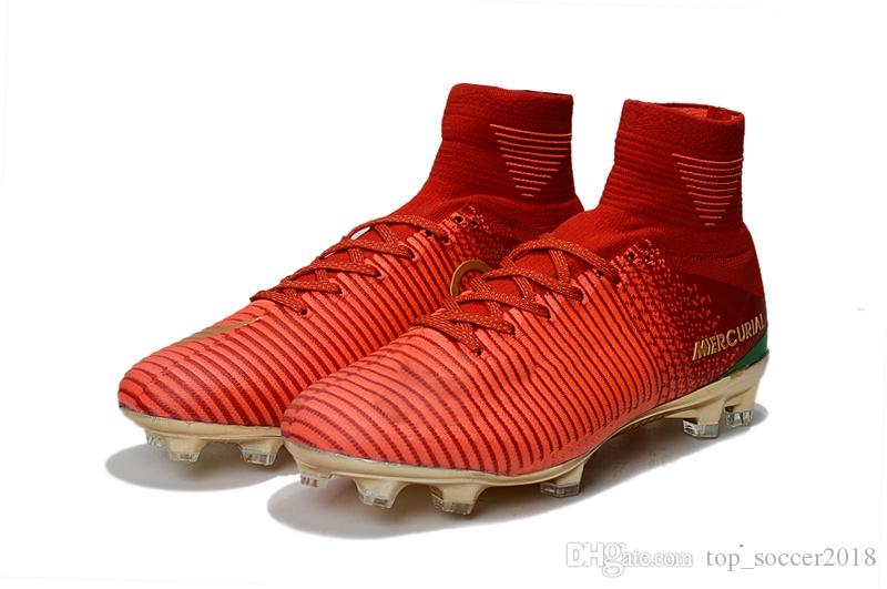 ed5c118643ae 2019 Original Red Gold Children Soccer Cleats Mercurial Superfly CR7 Kids  Soccer Shoes Outdoor Cristiano Ronaldo Womens Football Boots From  Top_soccer2018, ...