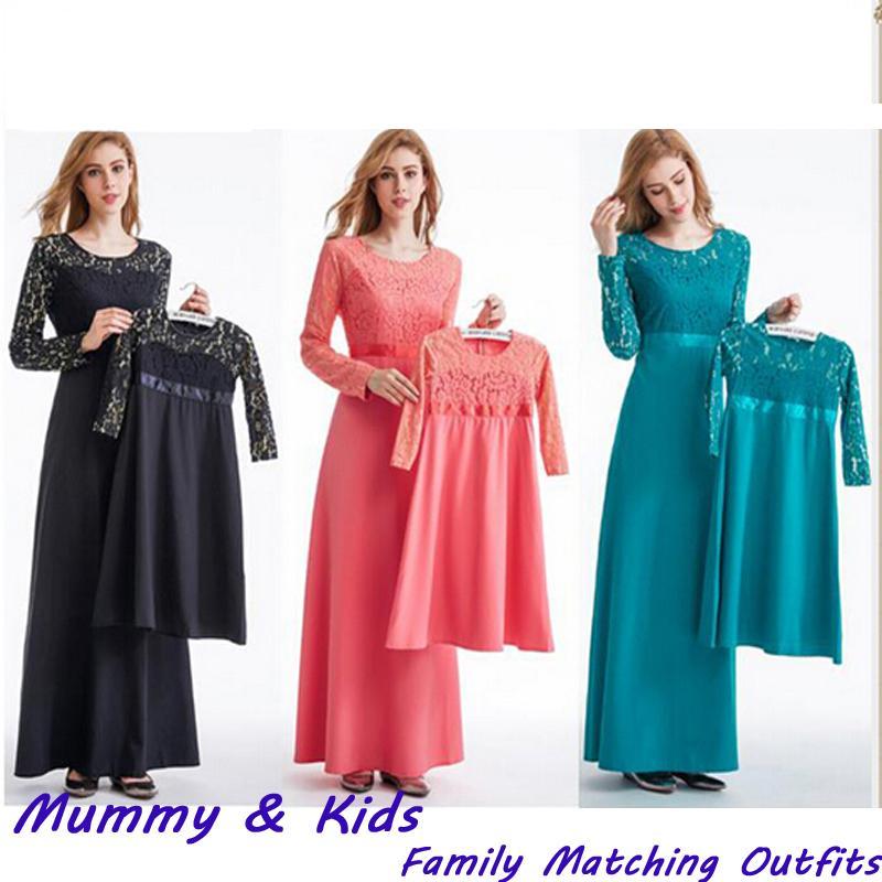 39697e1c03c10 2019 Elegant Muslim Lace Abaya Mother Kids Maxi Dress Girls Long Robe Gowns  Child Cardigan Kimono Jubah Ramadan Arab Islamic Clothing From Cravat, ...