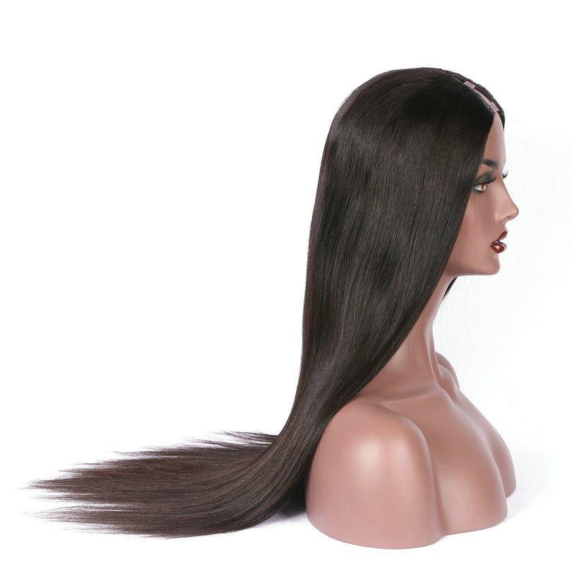 U Part Wig Human Hair For Black Women Grade 9A Unprocessed Silk Straight Brazilian Upart Wigs 1*3 Left Part For Black Women