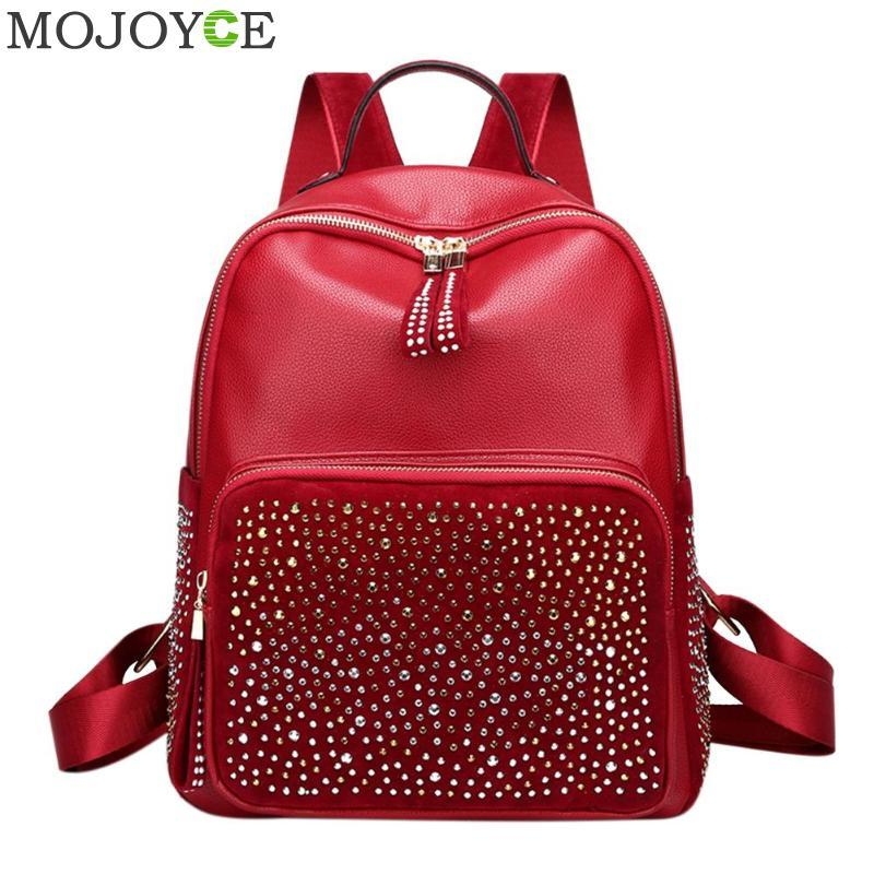 Leisure Style Women Backpack With Rhinestone PU Leather Female Backpacks  High Capacity Travel Back Pack Bags Red Black Gold College Backpacks Girl  Backpacks ... 5a8d3422464ed