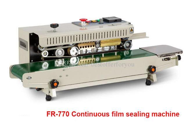 Automatic Continuous Plastic Bag Sealing Machine with Coding Printer  Function FR-770 Automatic Heat Plastic Bag Foil Bag Band Sealer