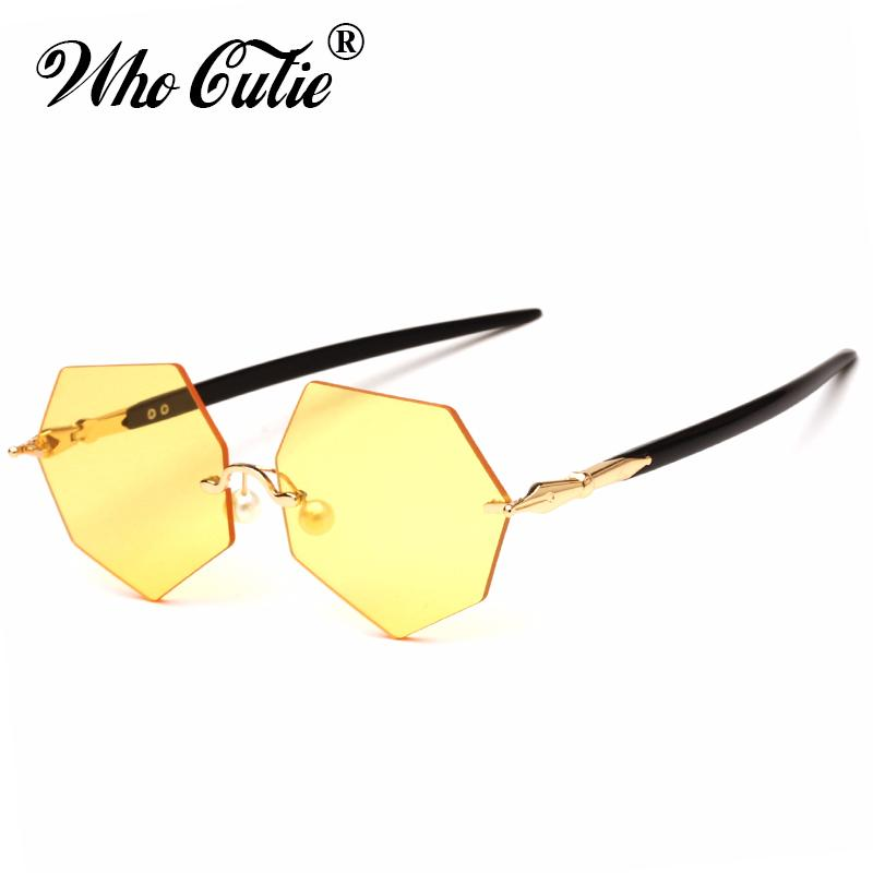 a6e918b55d WHO CUTIE 2018 Vintage Polygon Yellow Sunglasses Men Women Rimless Pen Frame  Brand Designer Pink Lens Sun Glasses Shades OM551 Designer Eyeglasses  Womens ...