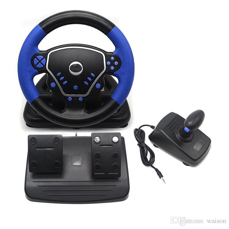 3 in 1 Gaming Vibration Racing Steering Wheel 25cm With Pedals Knob USB Interface Wired Steering Wheel for PS2 PS3 PC