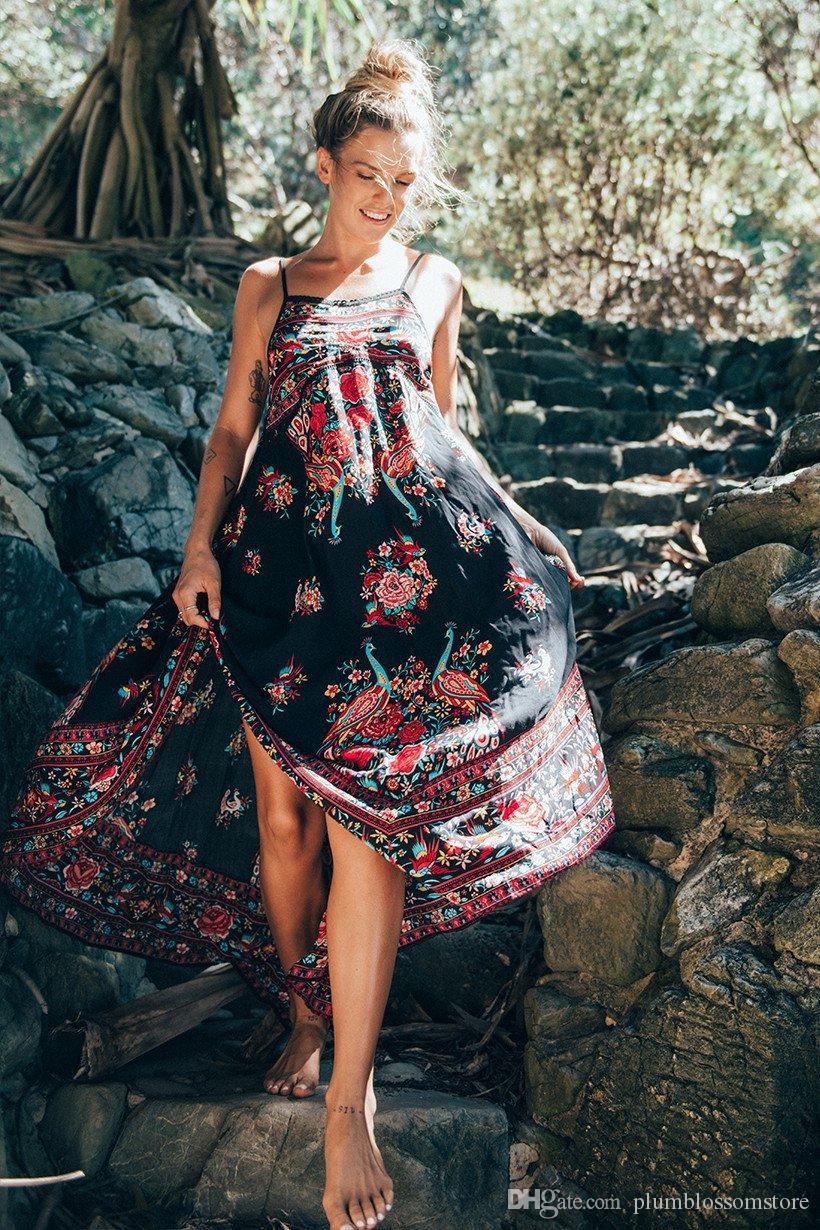 Bande de plage sexy spaghetti sangle robes de mode maxi robe longue imprimé floral Femmes été vacances à la mer Eleagnt Boho robe de soirée 2018