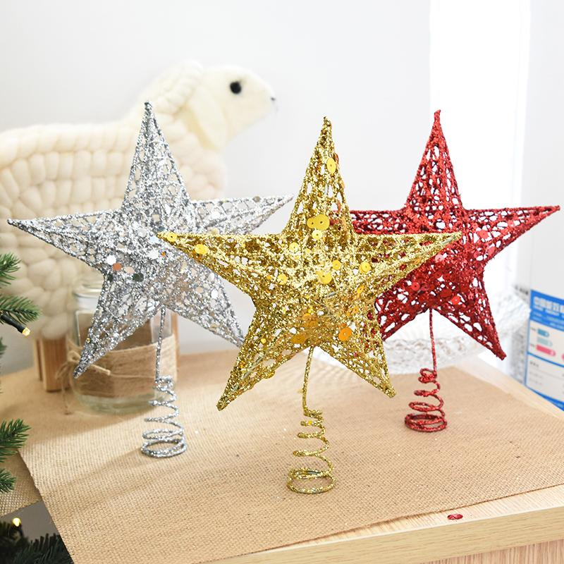 Wrought Iron Glitter Christmas Tree Star Top Ornament Christmas Tree Top Star Ornament