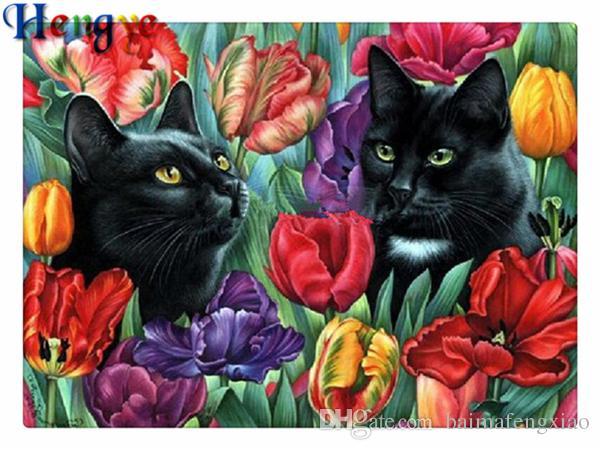 Rhinestone pieno di diamanti tondi ricamo animale gatto fiore tulipano 5D fai da te pittura diamante kit punto croce casa mosaico decor regalo yx2256