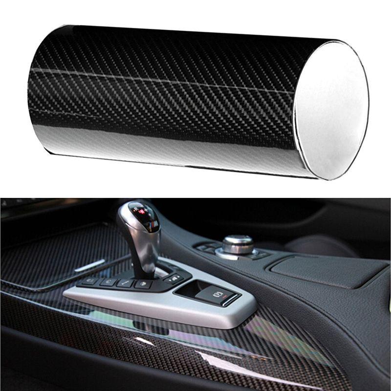 6D Brilhante Preto Alto Brilho Auto Folha de Adesivo de Fibra De Carbono Liso Padrão Filme Envoltório Do Carro decalque para o tronco de telhados do automóvel