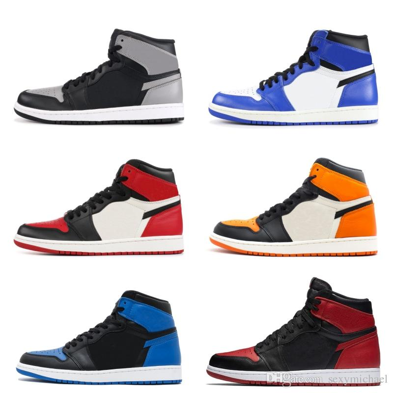 hot sale online 0b826 d1375 1 Game Royal Chicago shattered backboard Top 3 Black Bred toe Basketball  Shoes shadow Men 1s Royal Blue Sneakers With Shoes Box