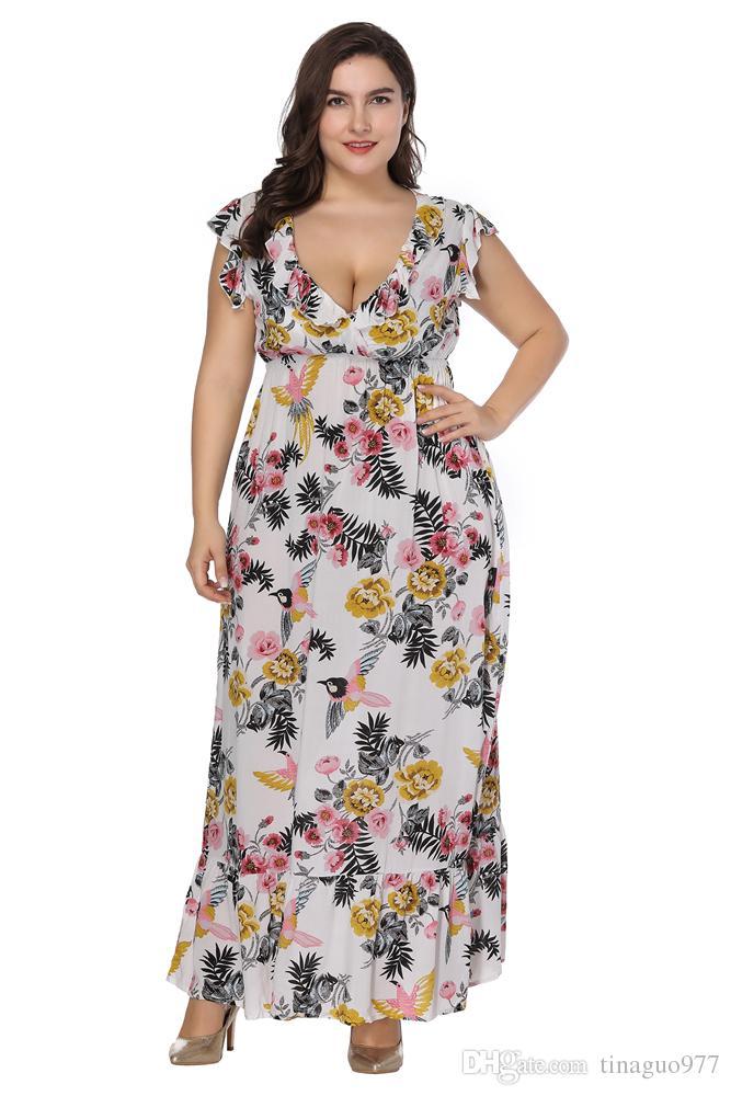 Plus Size Dresses For Women Deep V Neck Floral Print Ruffer Long Beach Summer Maxi Dress 3xl 4xl 5xl 6xl