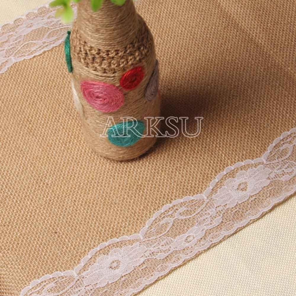 12x108 Inch Elegant White Burlap Table Runner Natural Table Runner Modern  Lace For Wedding Party Deco Dining Table Cloth Dining Table Runner From  Cansou, ...