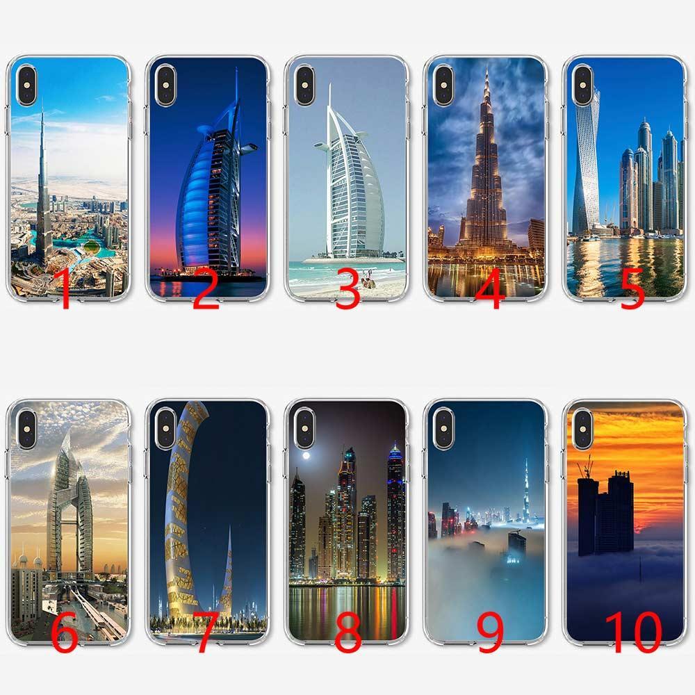 Dubai City Architectural landscape Soft Silicone TPU Phone Case for iPhone  5 5S SE 6 6S 7 8 Plus X XR XS Max Cover