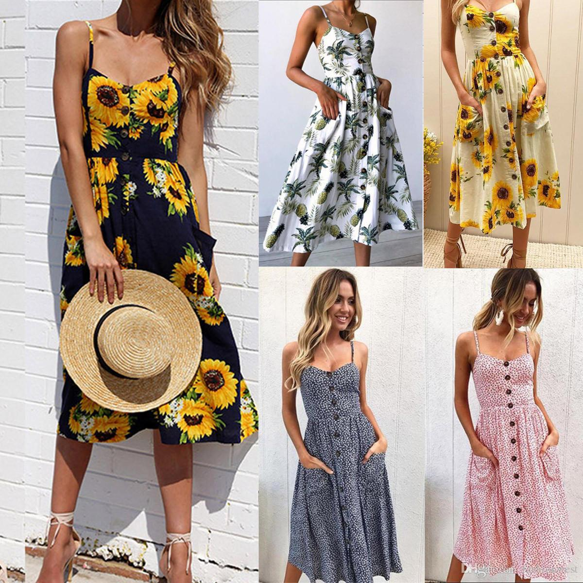 df69df15acc Womens Summer Boho Casual Long Maxi Evening Party Cocktail Beach ...