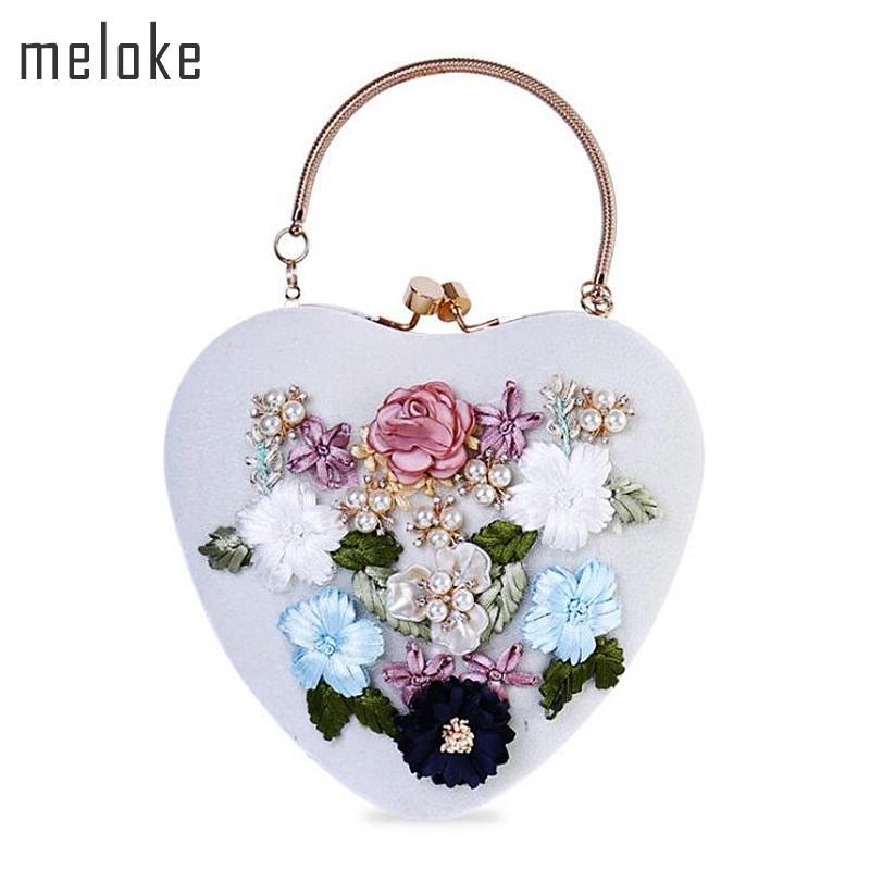 Meloke 2017 New Velour Handmade Flowers Bags Heart Shaped Wedding ... 85b641b56291