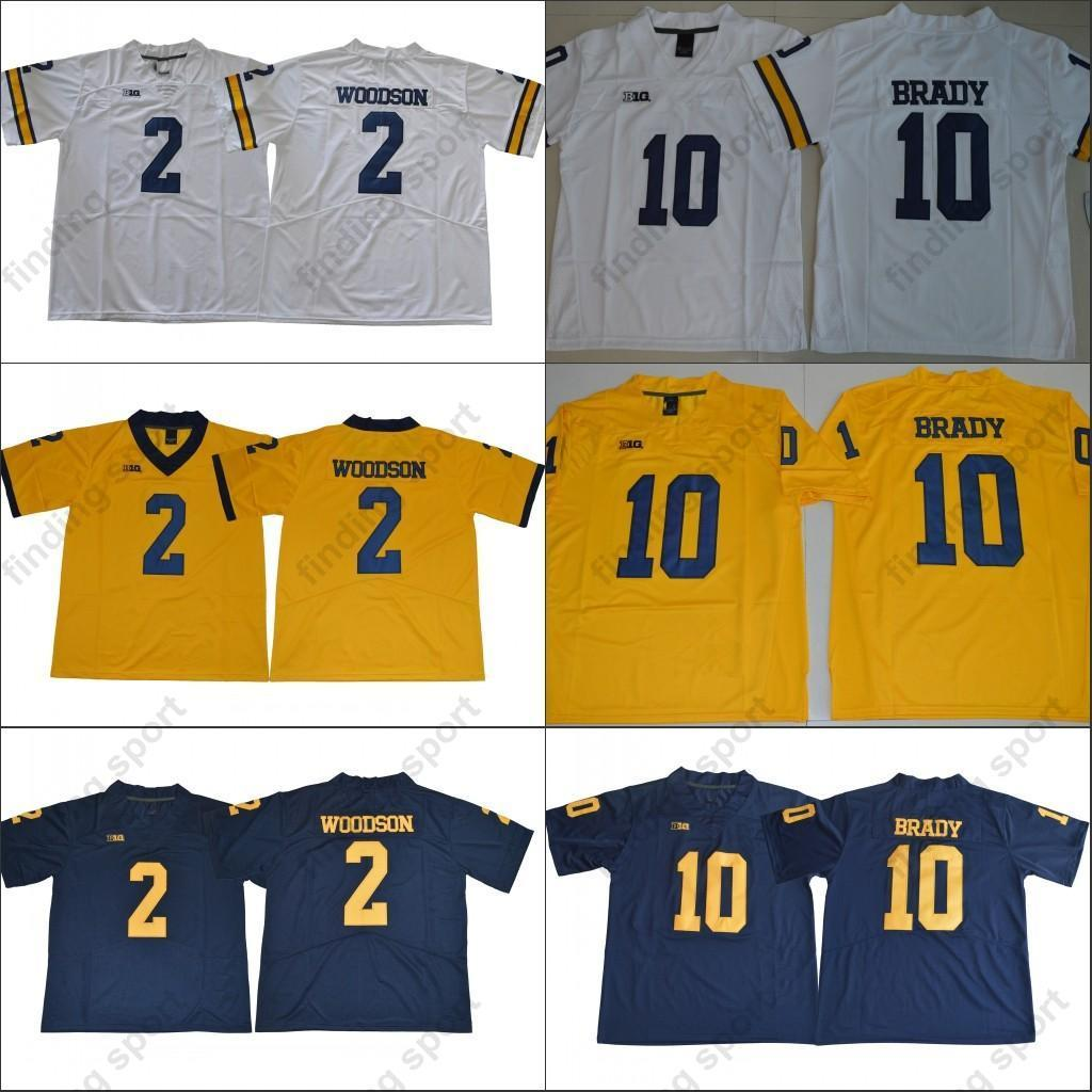 fdafc284c 2018 NCAA Michigan Wolverines 10 Tom Brady Jersey 2 Charles Woodson Navy  Blue White Yellow Stitched College Football Jersey Online with  20.55 Piece  on ...