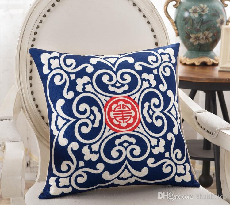 Chinese style Pillowcase linen material cushion cover decorative pillow case sofa seat car pillow cover 45x45cm