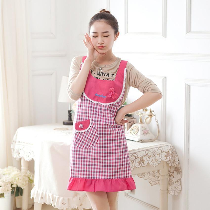 Korean Style Cute Plaid Sleeveless Apron Kitchen Dining Room Dust