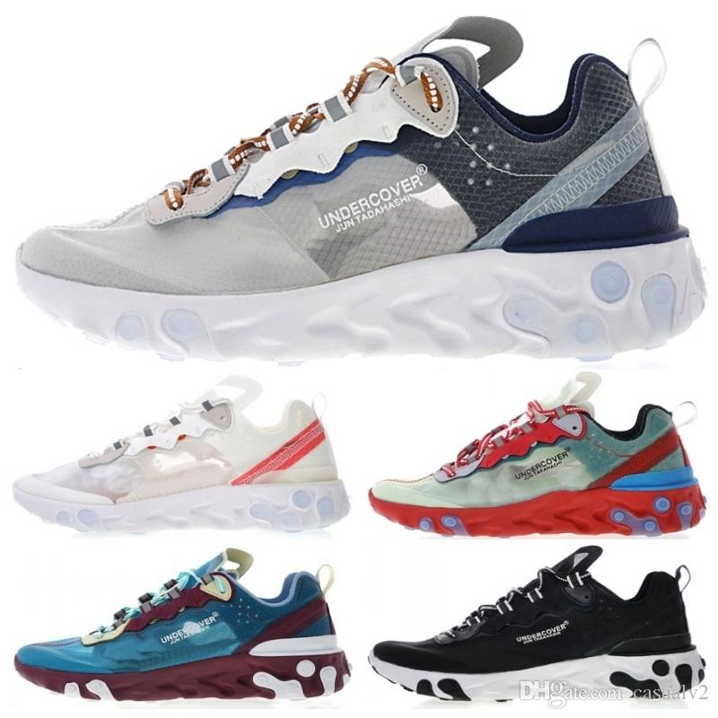 d4a132db611f 2019 New Arrivals UNDERCOVER X Upcoming Epic React Element 87 Men Running  Shoes Black White Lake Blue Jogging Shoes Sports Sneakers From Casualv2