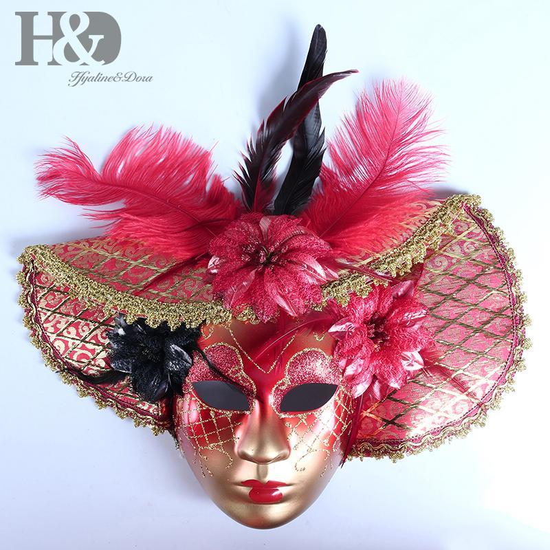 44aefcb8f497d Compre HD Elegante De Las Mujeres Máscara Veneciana Con Sombrero De Plumas  De Lujo Rojo Mascarada Mardi Gras Fiesta De Disfraces Decoración De La  Pared Del ...