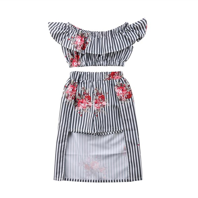 2018 Floral Clothing Set New Summer Kid Girl Sundress Stripe Off Shoulder Tops Flower Shorts Skirt Outfits Party Dress Clothes Set From Sightly