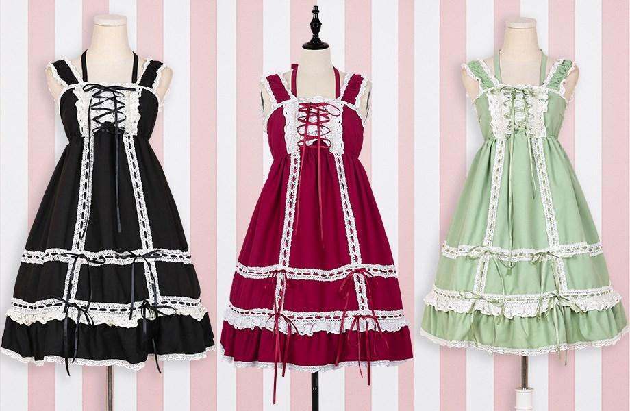 e1b33c48aac55 Acheter Lolita Robe Doux Mignon Japonais Kawaii Filles Princesse Maid  Vintage Bébé Poupée Dentelle Rouge Vert Noir Femmes D été Jupe Arc De   56.17 Du ...