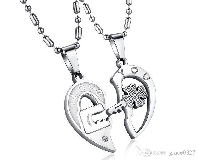 hot sale titanium steel diamond key puzzle couple lovers high quality pendant necklace Korean fashion jewelry