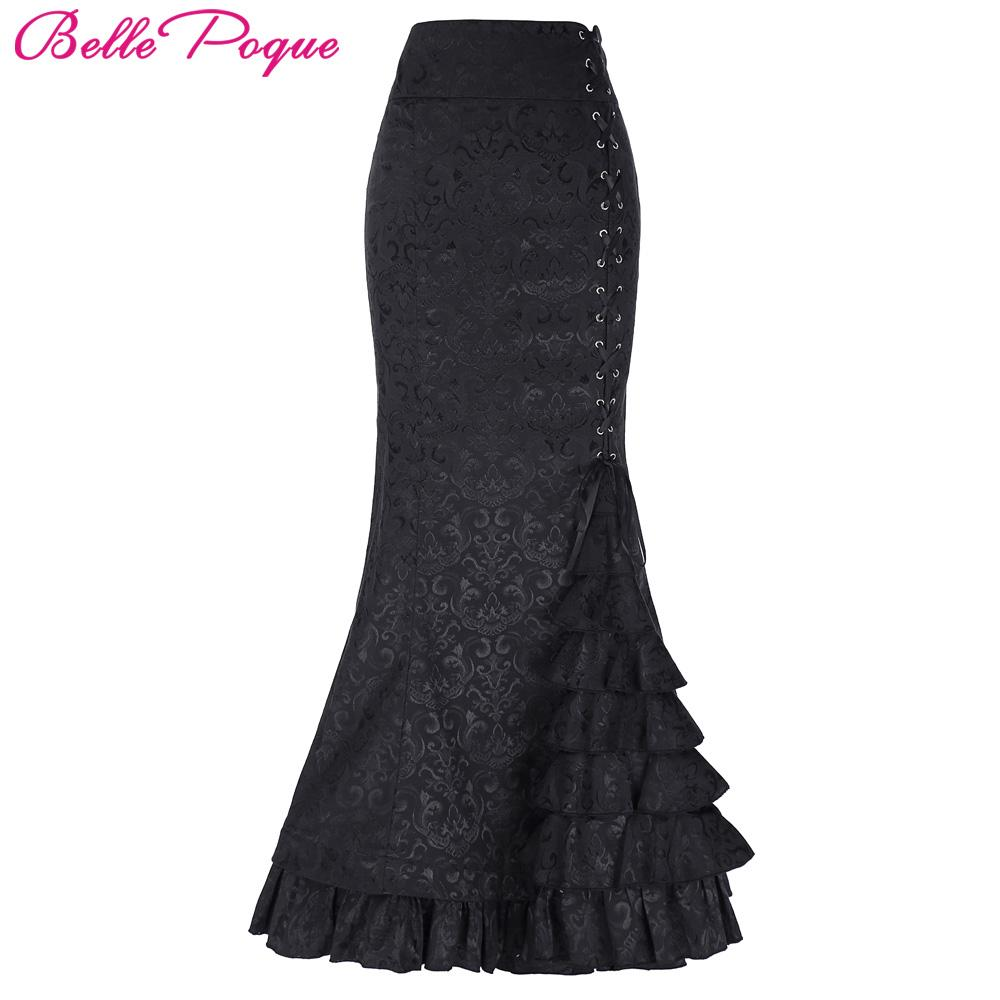 1a0e3c20c3 2019 Belle Poque Long Skirts Womens Victorian Vintage Gothic Mermaid Skirt  Corset Lace Up Floor Length Fishtail Slim OL Maxi Skirts From Cutee