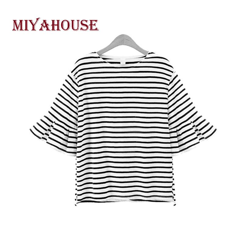 128cf7b1 Miyahouse T Shirt Women Summer Striped Half Sleeve O Neck Tops Butterfly  Sleeve Loose Cotton Casual T Shirt For Teenager Girls Printed Shirt Best  Tshirts ...