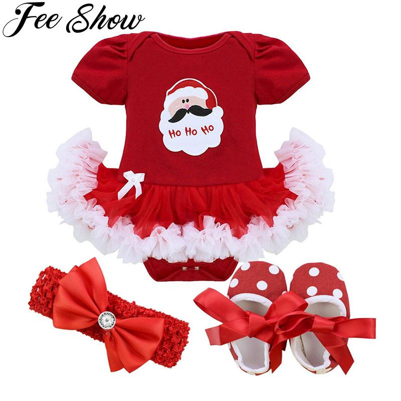 9f5f14e2f20a 2019 Baby Infant Girls Christmas Romper Newborn Baby Girl First Birthday  Dress Role Play Party Wear 0 9 Months Toddler Girl Dress From Bosiju