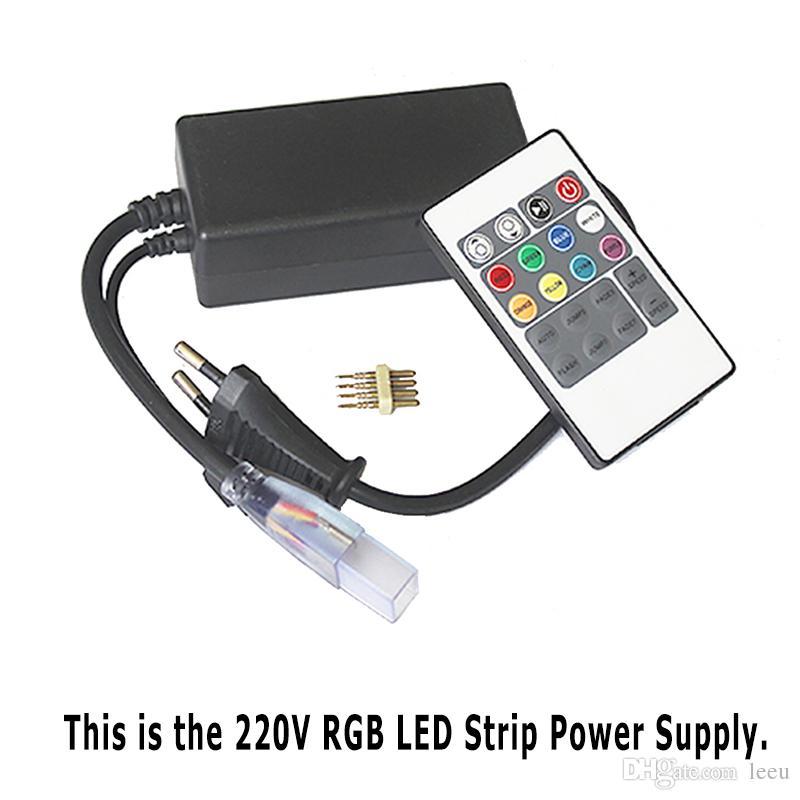Led Şeritler 10 M 50 M 110 V / 220 V Yüksek Gerilim SMD 5050 RGB Led Şeritler Işıkları Su Geçirmez + IR Uzaktan Kumanda + Güç Kaynağı