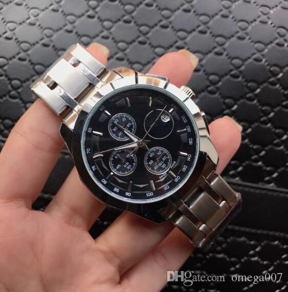 43f8f6afe4b Compre Homem Hot Watch Montres Prata Aaa Data De Quartzo Barato Esporte  Atacado De Luxo Homens Da Moda Nova Marca De Aço Inoxidável Mens Relógios  De ...