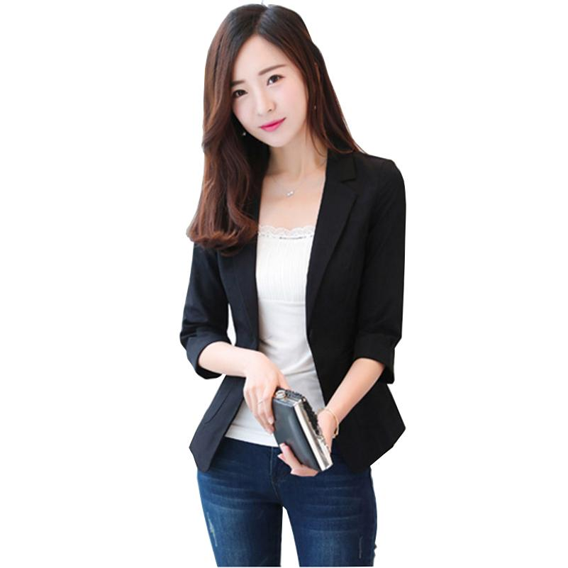 92d19d18c Ladies Blazers and Coats Office Wear Small Suit Bodycon One Button Chiffon  Blazer Jackets Three Quarter Sleeve Women Coat Female