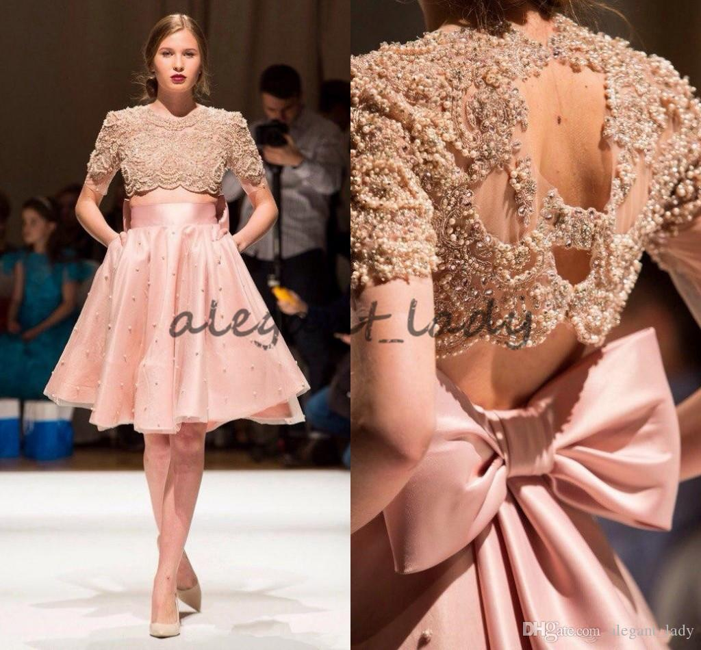 617b8d3b1cb Blush Pink Luxury Pearls Two Pieces Short Prom Party Dresses With Big Bow  2018 Modest Knee Length Homecoming Evening Dress With Sleeve Wear Prom  Dresses ...