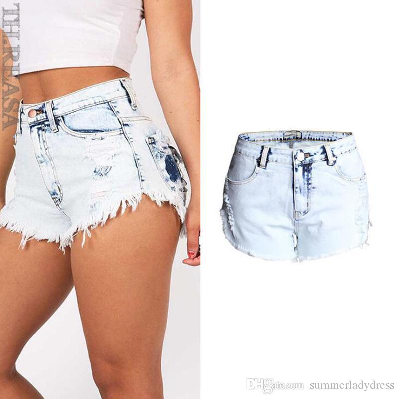 200fce4a8c Pantaloncini di jeans sexy Pantaloncini corti a vita alta da estate a vita  alta Pantaloni corti oversize con pantaloncini blu chiaro per le donne
