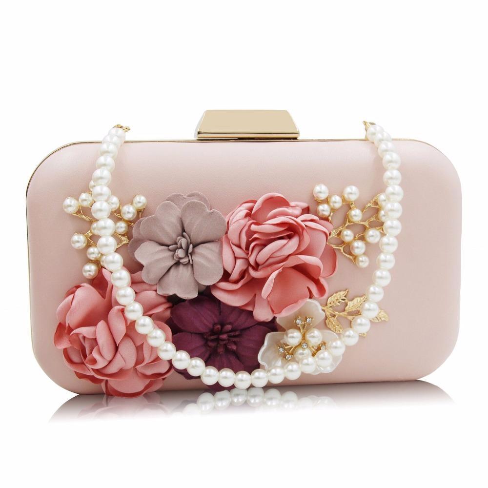 Ladies Elegant Pearl Chain Flower Evening Bag Party Clutch Womens