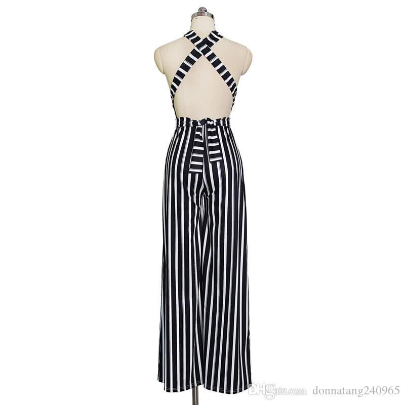 2018 Summer Halter Sleeveless Stripes Print Rompers Womens Jumpsuit Sexy Women Back Lace Up Jumpsuit Romper Clothing